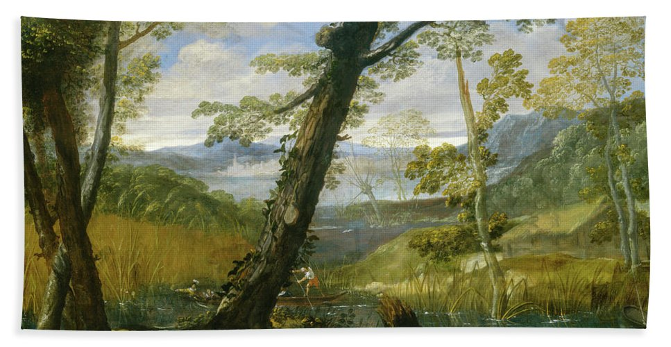 Landscape Hand Towel featuring the painting River Landscape by Annibale Carracci
