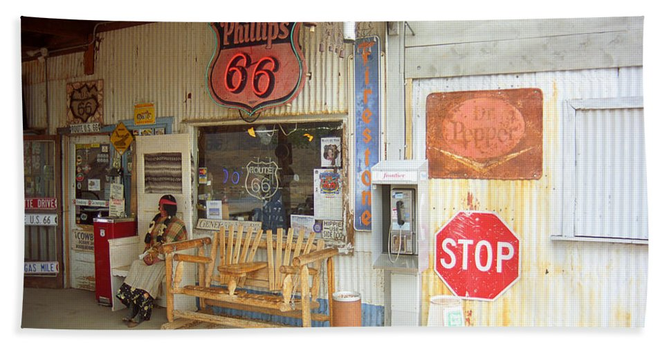 66 Hand Towel featuring the photograph Route 66 - Hackberry General Store by Frank Romeo