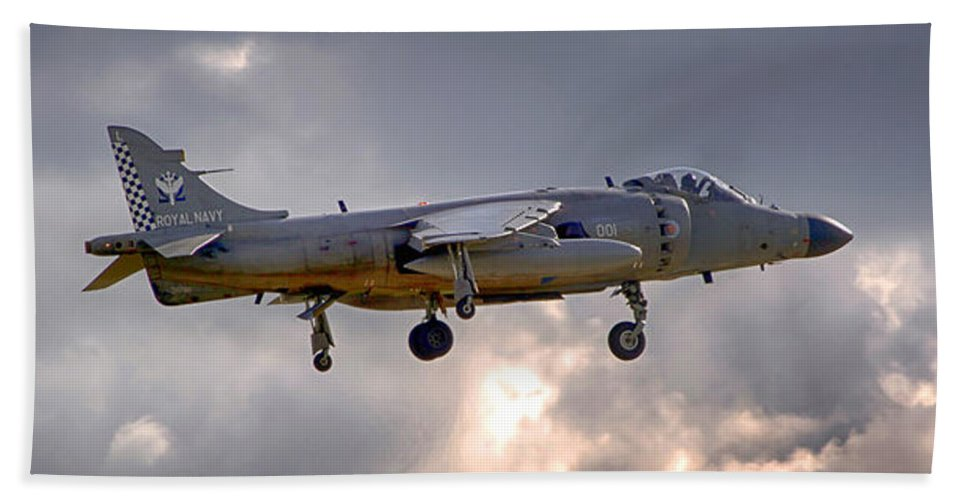Royal Navy Hand Towel featuring the photograph Royal Navy Sea Harrier by Chris Smith