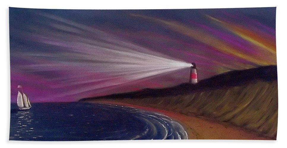 Sankaty Hand Towel featuring the painting Sankaty Head Lighthouse Nantucket by Charles Harden
