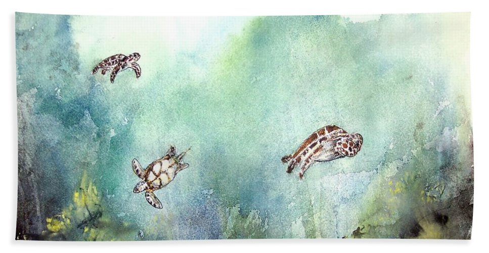 Turtle Bath Sheet featuring the painting 3 Sea Turtles by Derek Mccrea
