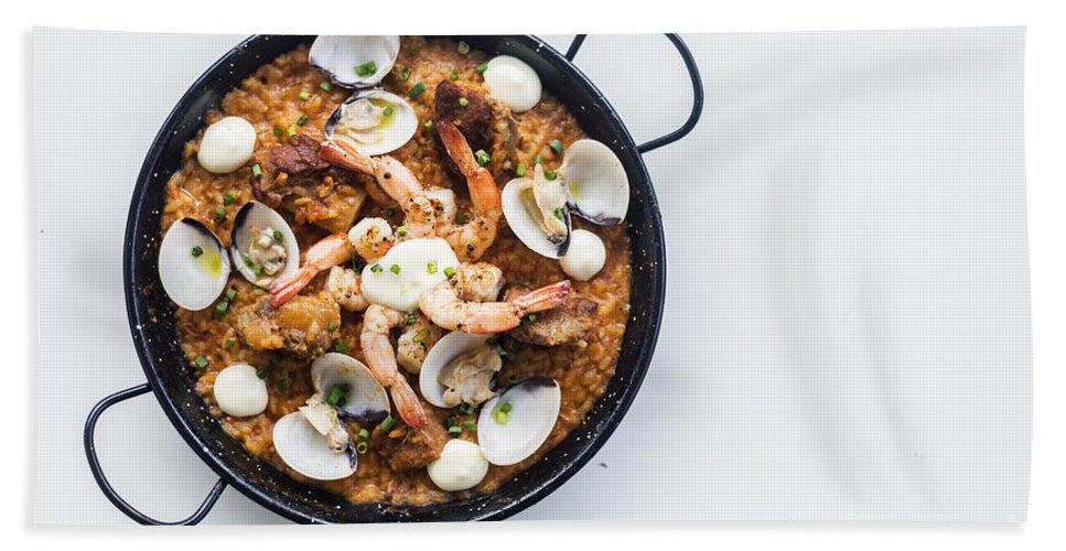 Cuisine Hand Towel featuring the photograph Seafood And Rice Paella Traditional Spanish Food by Jacek Malipan