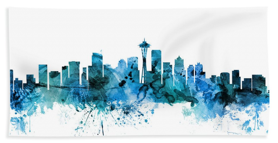United States Hand Towel featuring the digital art Seattle Washington Skyline by Michael Tompsett