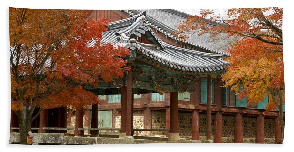 Korea Hand Towel featuring the photograph Seonamsa In Autumn by Michele Burgess