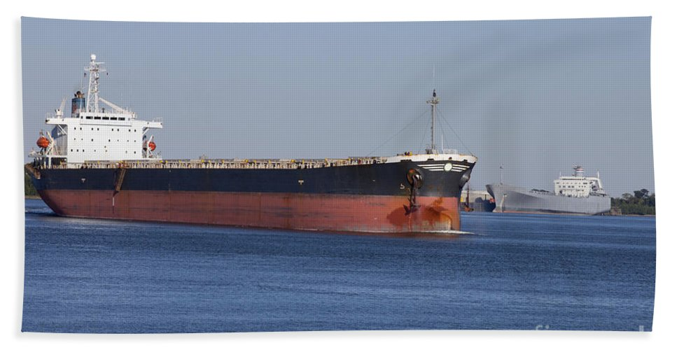 Transportation Bath Sheet featuring the photograph Shipping - New Orleans Louisiana by Anthony Totah