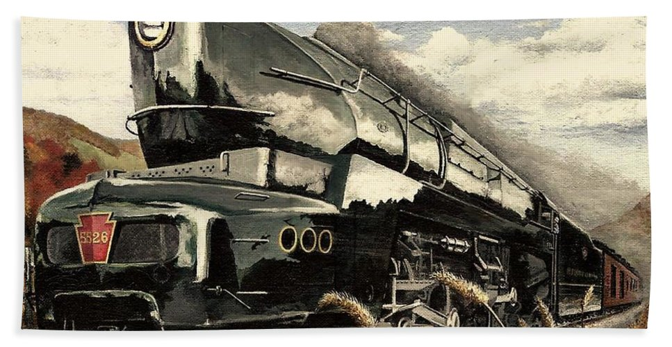 Pennsylvania Railroad Bath Towel featuring the painting Showin Off by David Mittner
