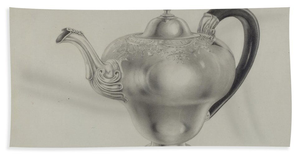 Hand Towel featuring the drawing Silver Teapot by Hester Duany