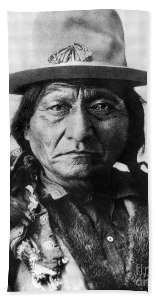 19th Century Hand Towel featuring the photograph Sitting Bull (1834-1890) by Granger