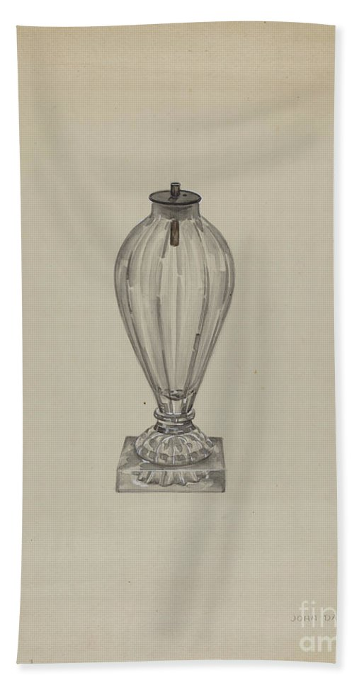 Hand Towel featuring the drawing Spark Lamp by John Dana