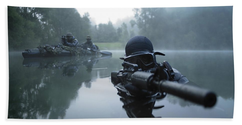 Special Operations Forces Hand Towel featuring the photograph Special Operations Forces Combat Diver by Tom Weber
