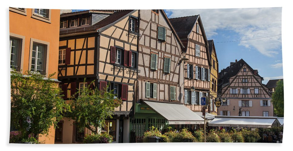 Streets Of Colmar Hand Towel featuring the photograph Streets Of Colmar by Yefim Bam