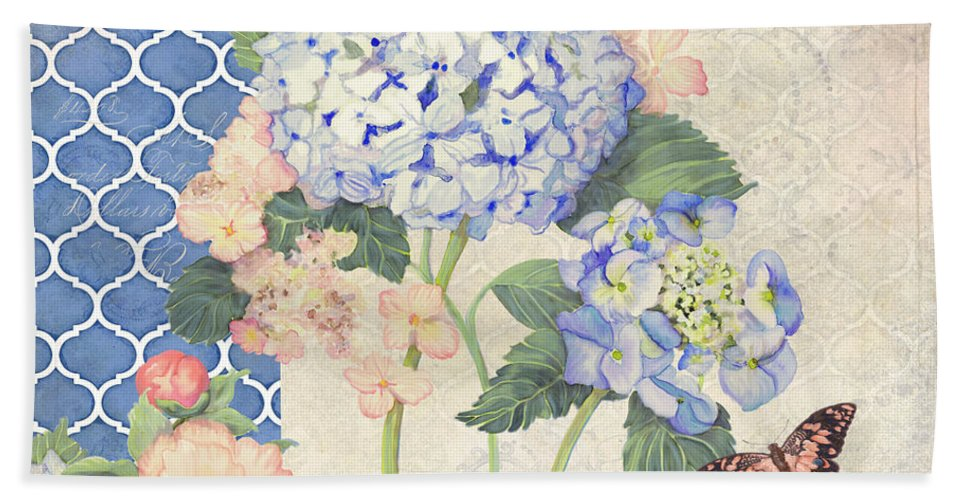 Hand Towel featuring the painting Summer Memories - Blue Hydrangea N Butterflies by Audrey Jeanne Roberts