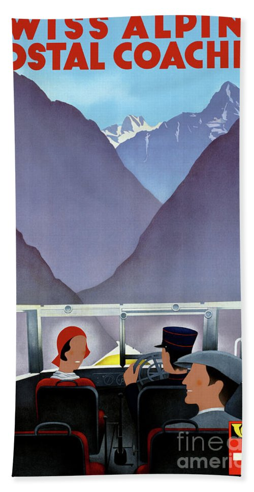 Travel Hand Towel featuring the mixed media Switzerland Vintage Travel Poster Restored by Vintage Treasure