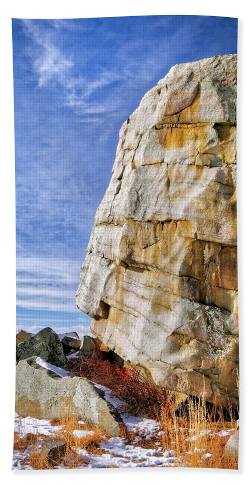 Alberta Hand Towel featuring the photograph The Big Rock by Roderick Bley