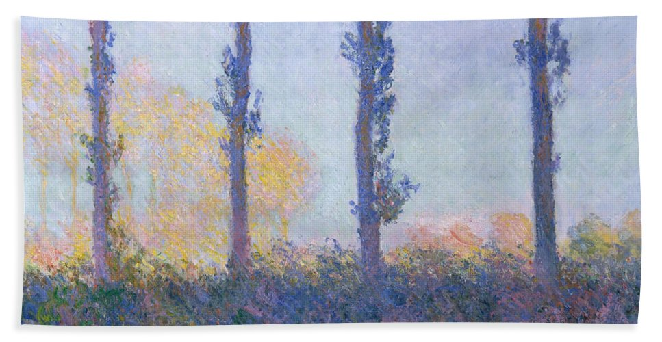 Claude Monet Hand Towel featuring the painting The Four Trees by Claude Monet
