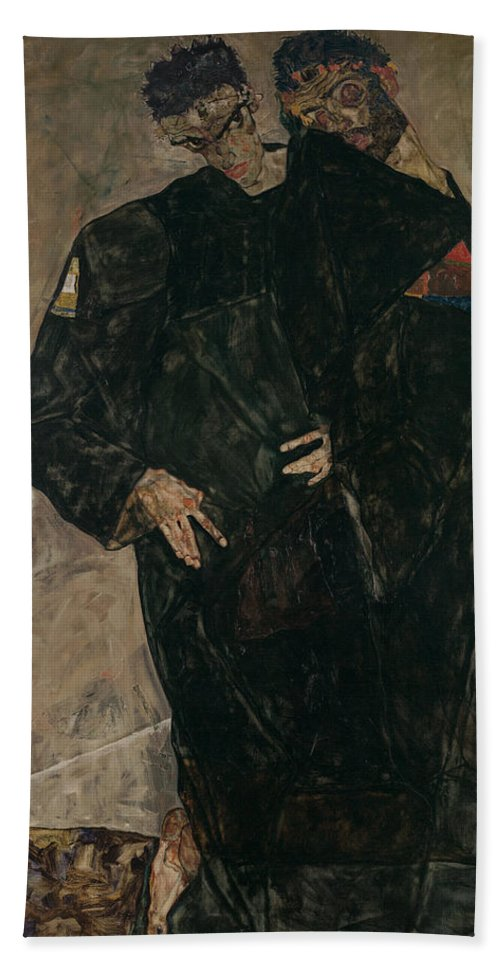 Schiele Bath Sheet featuring the photograph The Hermits by Egon Schiele