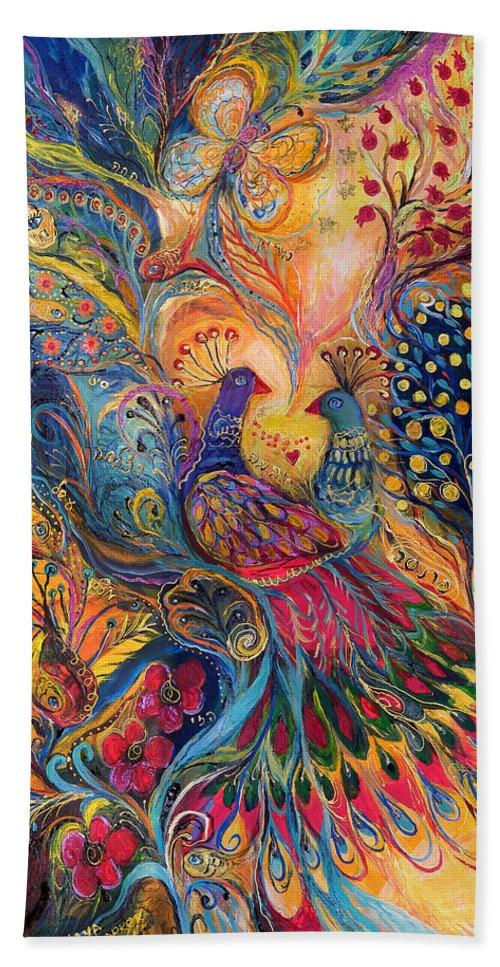 Original Bath Sheet featuring the painting The Magic Garden by Elena Kotliarker