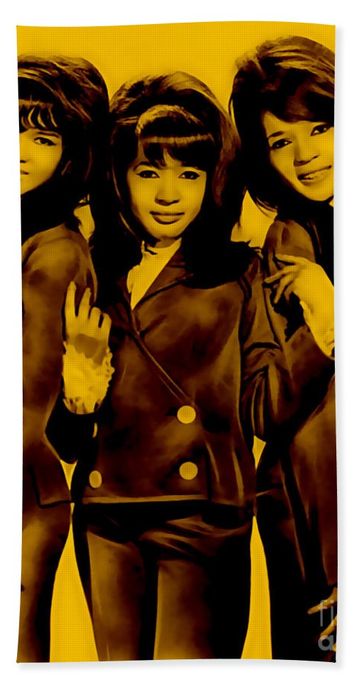 The Ronettes Hand Towel featuring the mixed media The Ronettes Collection by Marvin Blaine