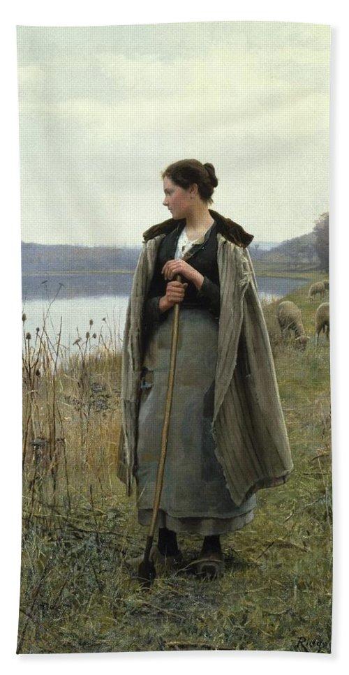 Daniel Ridgway Knight (american Bath Sheet featuring the painting The Shepherdess Of Rolleboise by Daniel Ridgway