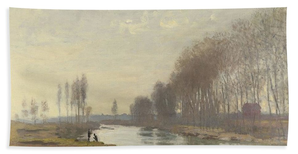 Claude Monet (french Bath Sheet featuring the painting The Small Branch Of The Seine At Argenteuil by Claude Monet