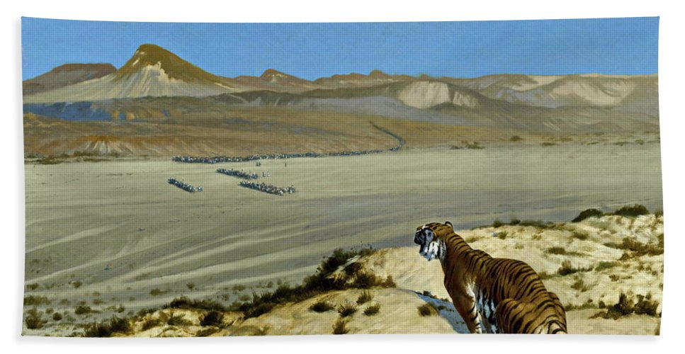 Tiger Hand Towel featuring the painting Tiger On The Watch by Jean Leon Gerome