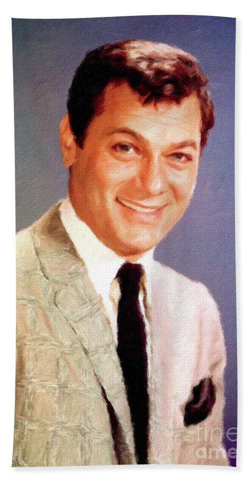 Hollywood Bath Sheet featuring the painting Tony Curtis Vintage Hollywood Actor by Mary Bassett