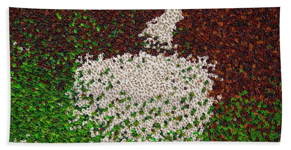 Abstract Bath Towel featuring the painting Soft Green with Brown, Buff and White by Dean Triolo
