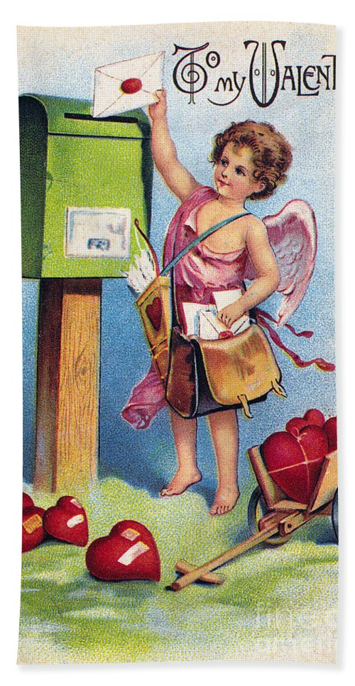 1909 Hand Towel featuring the photograph Valentines Day Card by Granger