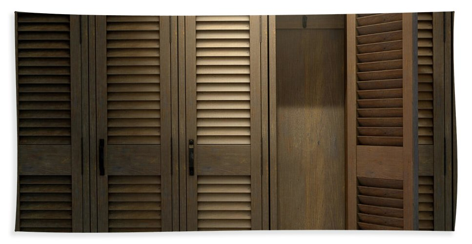 Locker Bath Towel featuring the photograph Vintage Locker And Open Door by Allan Swart