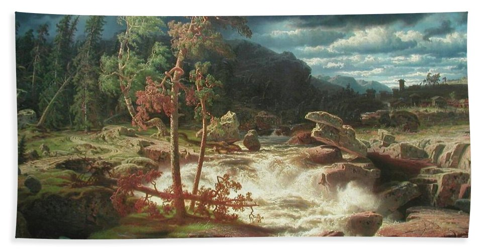 Marcus Larson - Waterfall In Smaland - 1856. Trees Bath Sheet featuring the painting Waterfall In Smaland by Marcus Larson