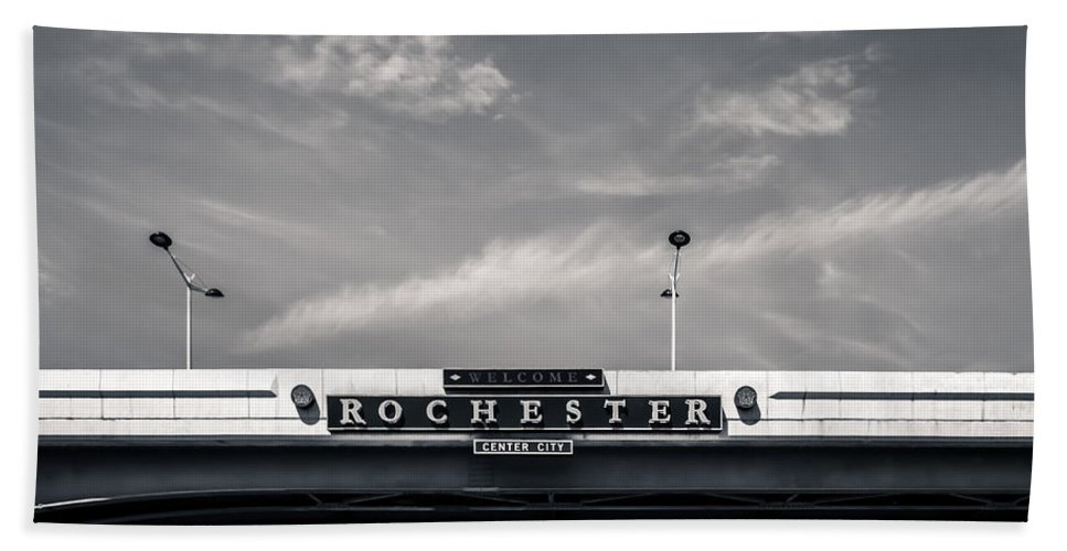 New York Hand Towel featuring the photograph Welcome To Rochester City Center by Ray Sheley