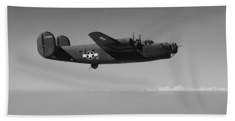 Plane Bath Sheet featuring the photograph Wwii Us Aircraft In Flight by American School
