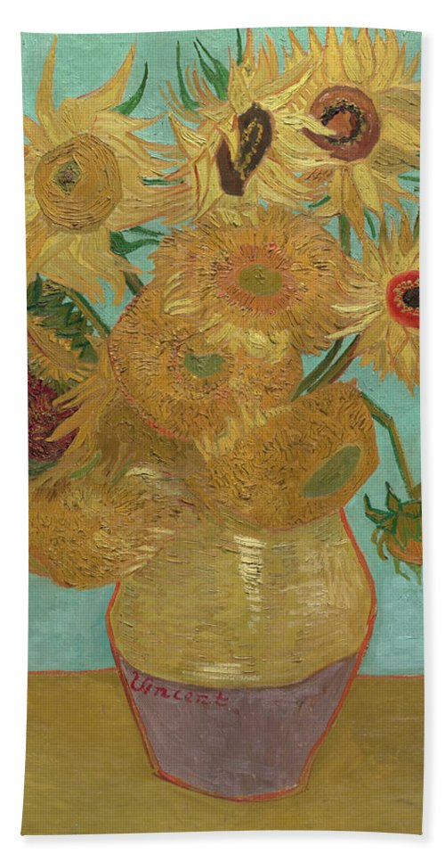 Vincent Van Gogh Bath Sheet featuring the painting Sunflowers by Vincent van Gogh