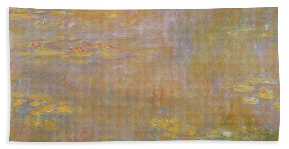 Monet Bath Towel featuring the painting Waterlilies by Claude Monet