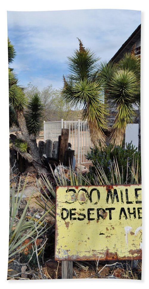 Route 66 Hand Towel featuring the photograph 300 Miles Desert Ahead by Kyle Hanson