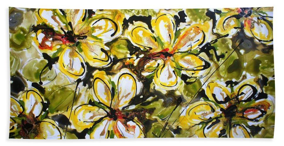 Flowers Bath Towel featuring the painting Divine Blooms by Baljit Chadha