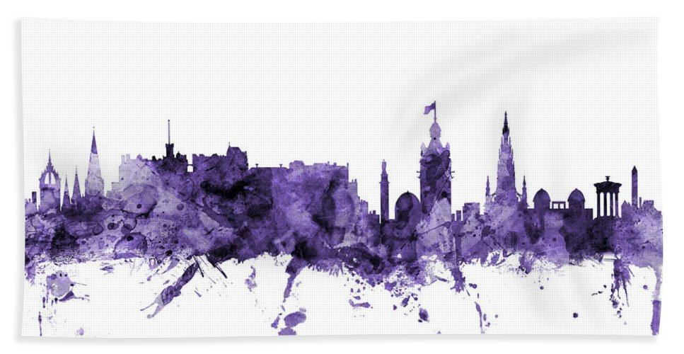 City Hand Towel featuring the digital art Edinburgh Scotland Skyline by Michael Tompsett