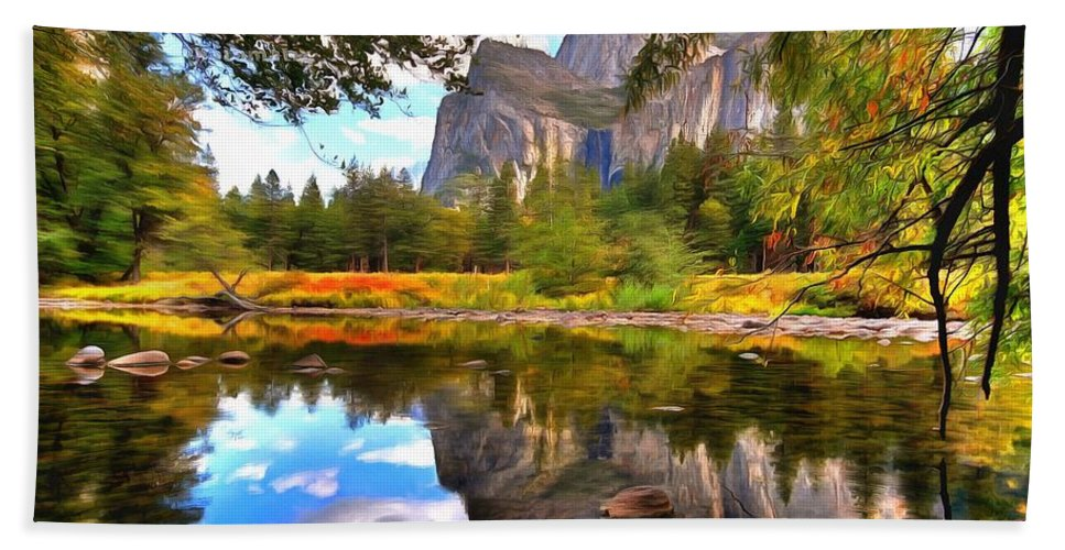 Nature Bath Sheet featuring the painting Lake by Vadim Pavlov