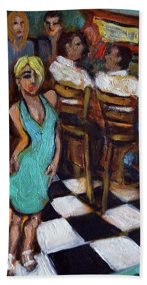 Restaurant Hand Towel featuring the painting 32 East by Valerie Vescovi