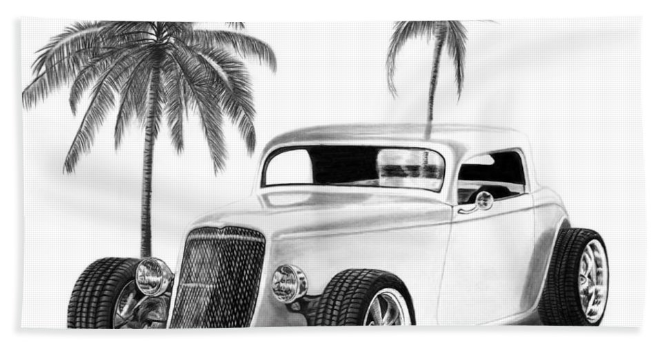 1933 Ford Coupe Bath Sheet featuring the drawing 33 Ford Coupe by Peter Piatt