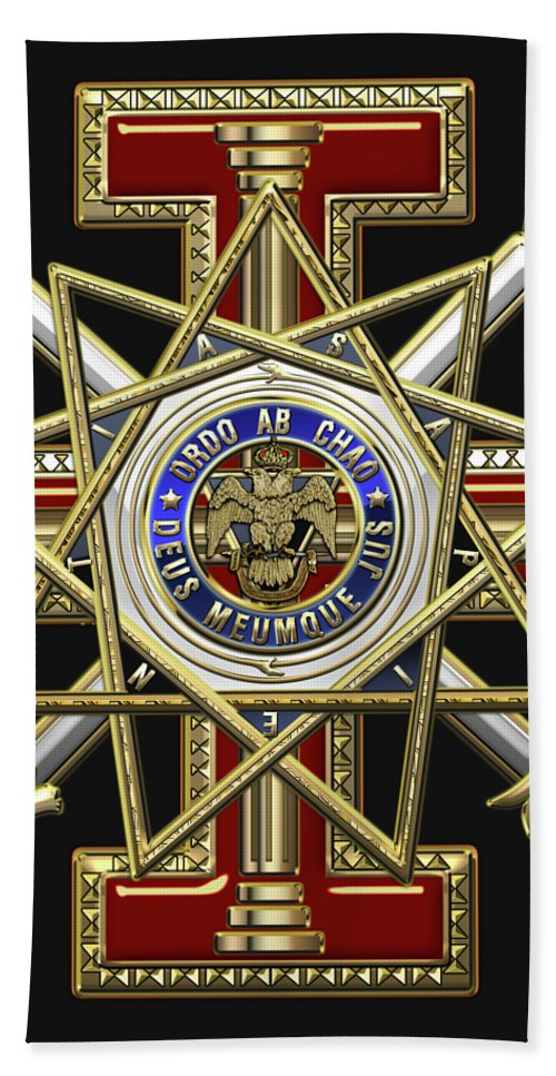 'ancient Brotherhoods' Collection By Serge Averbukh Bath Towel featuring the digital art 33rd Degree Mason - Inspector General Masonic Jewel by Serge Averbukh