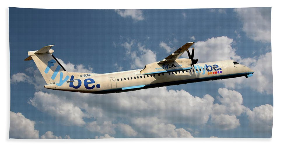 Flybe Bath Towel featuring the photograph Flybe Bombardier Dash 8 Q400 by Smart Aviation