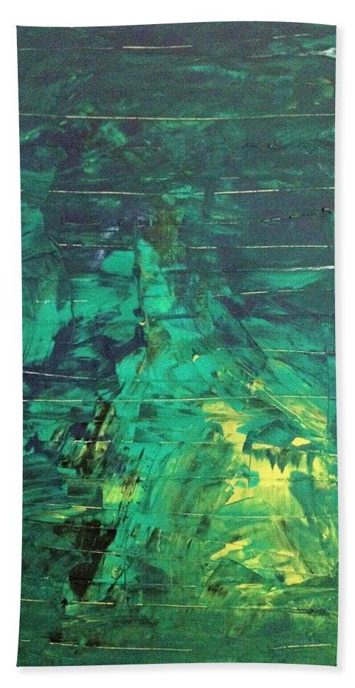 Abstract Art Bath Sheet featuring the painting 34m Dwarf by John Dossman