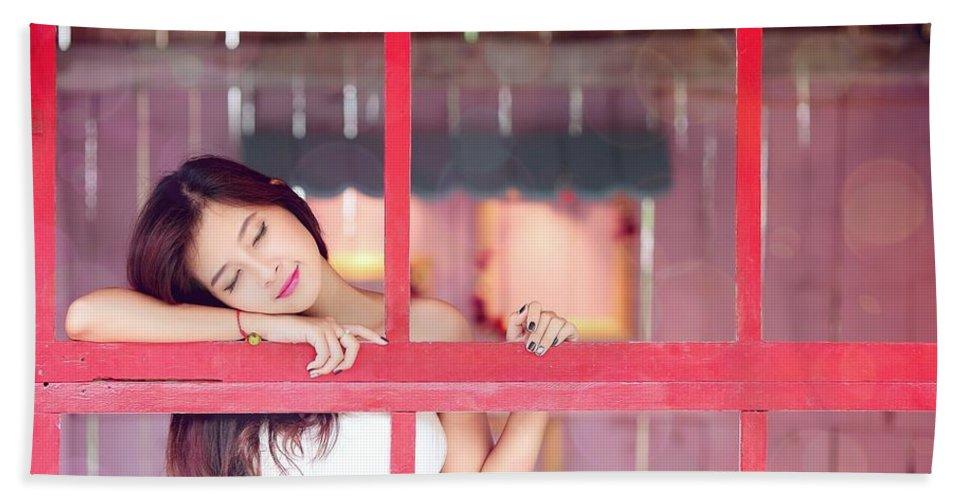 3 Closed Eyes Asian Women Model Hand Towel featuring the digital art 351943 Closed Eyes Asian Women Model by Anne Pool