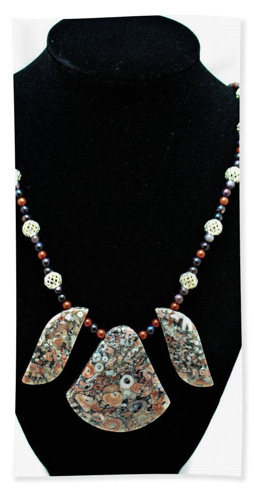 Jewelry Hand Towel featuring the jewelry 3521 Crinoid Fossil Jasper Necklace by Teresa Mucha