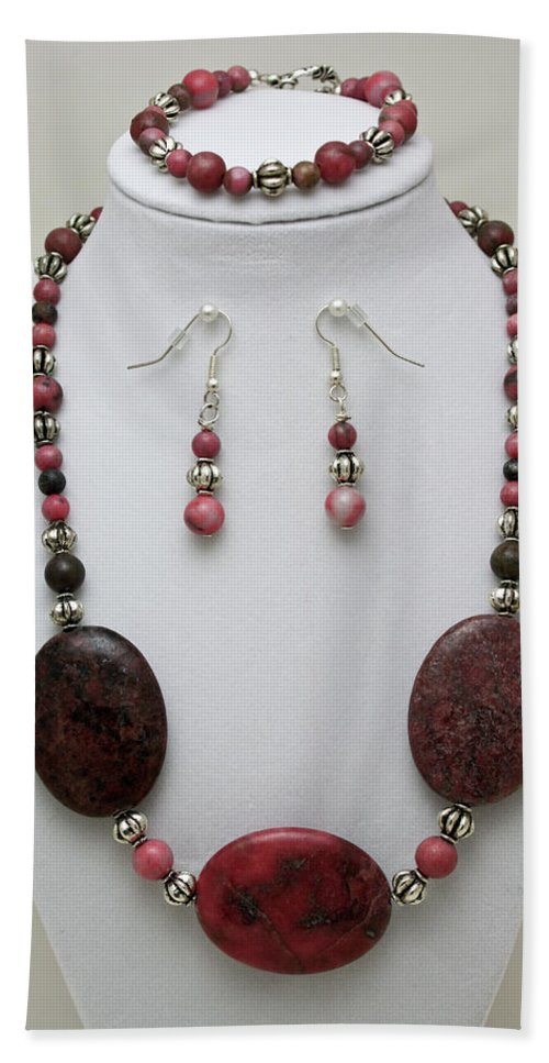 Handmade Bath Towel featuring the jewelry 3544 Rhodonite Necklace Bracelet And Earring Set by Teresa Mucha