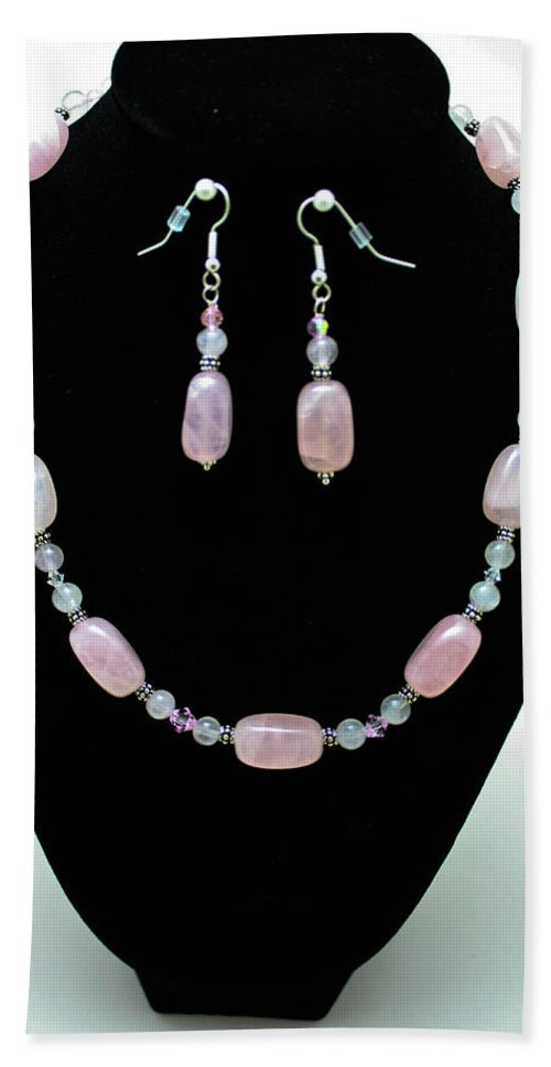 Jewelry Hand Towel featuring the jewelry 3558 Rose Quartz Set by Teresa Mucha