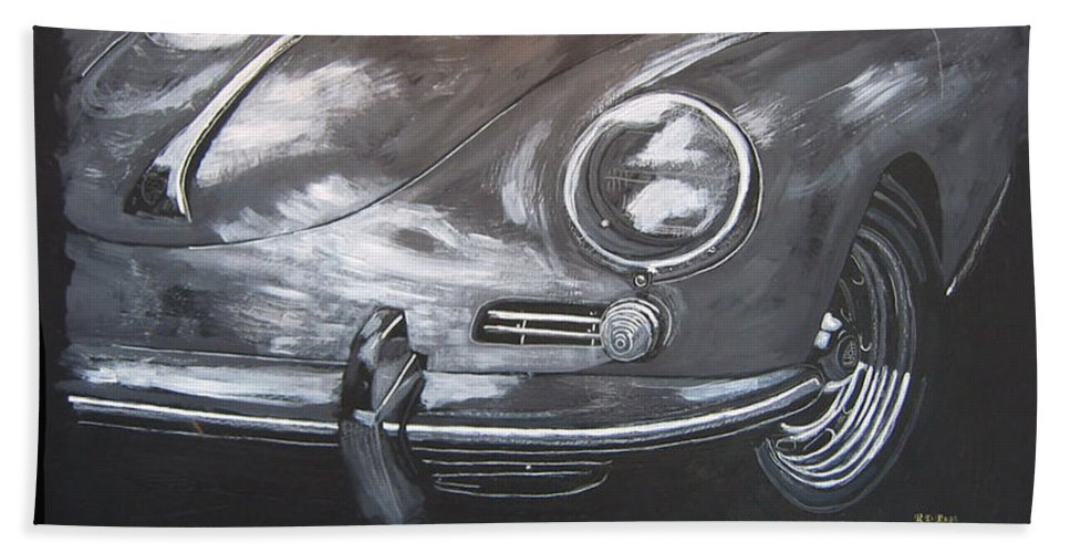 Car Hand Towel featuring the painting 356 Porsche Front by Richard Le Page