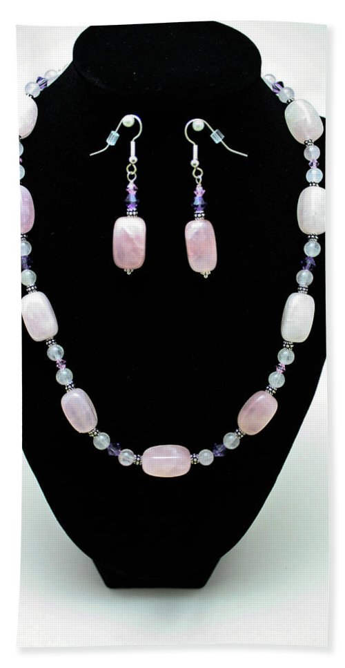 Jewelry Hand Towel featuring the jewelry 3560 Rose Quartz Necklace And Earrings Set by Teresa Mucha