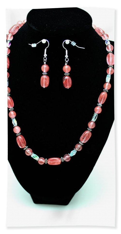 Jewelry Hand Towel featuring the jewelry 3570 Cherry Quartz Czech Glass Set by Teresa Mucha